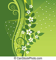 White Jasmine flowers on green swirls background This image...