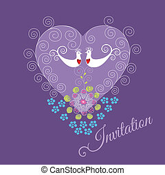 Purple invite with two love birds