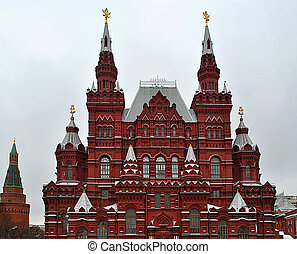 Facade of the history museum in Moscow.