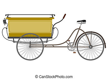 Retro rickshaw on a white background
