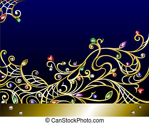 Vector horizontal gold jewerly background with gems - Vector...