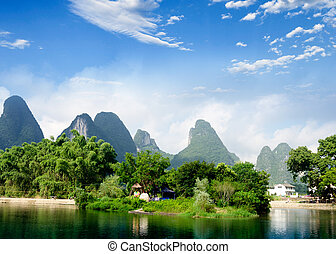 Beautiful Yu Long river Karst mountain landscape in Yangshuo...