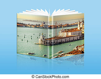 An opened book with a picture - Gulf of Venice, Italy - An...