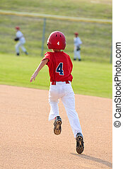 Baseball boy running bases - Little league baseball boy...