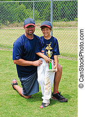 Father and son baseball player with trophy - Father and son...