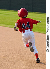 baseball boy running bases - Little league baseball player...