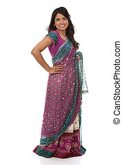 indian woman - pretty woman wering indian outfit on white...