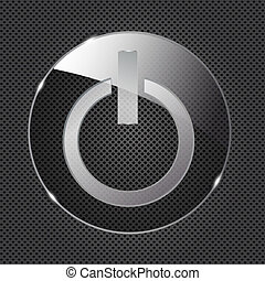 Glass power button icon on metal background. Vector...