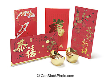 Gold Ingots and Red Packets on White Background