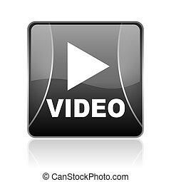 video black square web glossy icon - black modern square web...