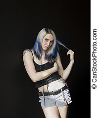 Beautiful Young Goth Woman with Blue Hair and Black Corset -...