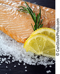 Cooked salmon - Photo of a cooked salmon steak with rosemary...