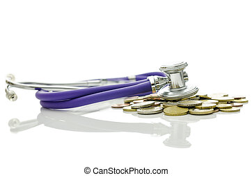 Economic crisis recovery - Stethoscope on bunch of coins...