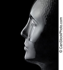glass head profile - translucent reflective human head made...