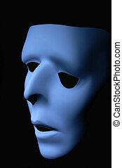 Feeling Blue - Blue ghostly face that has been distorted to...