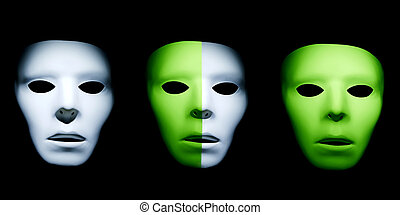 Mixed Races - White and green ghostly alien like faces with...