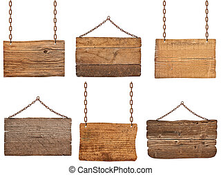 wooden sign with chain hanging background message -...