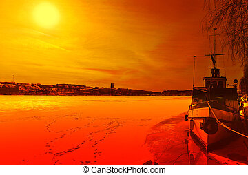 Stockholm ice-bound - Winter scenery - sunset in Stockholm,...