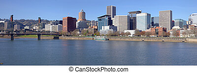 Portland OR. Skyline panorama and River.