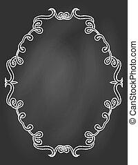 ornamental frame on chalkboard - empty hand drawn ornamental...