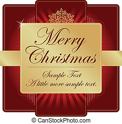 Ornate Red Gold Christmas Label