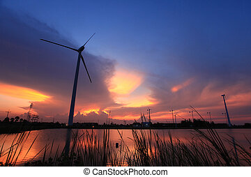 Wind turbine in the small wind power plant Located next to a...