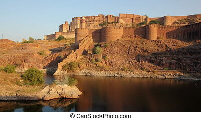 evening timelapse with fort and lake in Jodhpur India