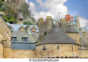 House in the abbey of Mont Saint Michel. Normandy, France