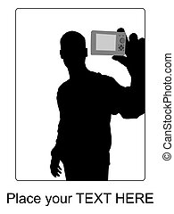 handsome businessman showing his business card - silhouette...