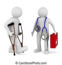 man on crutches and doctor Isolated 3D image