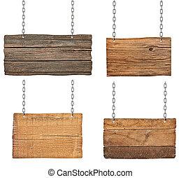 鏈子, 木制, 簽署, 背景, 懸挂, 消息