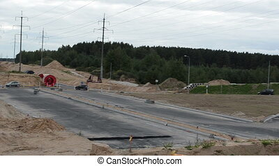 roundabout highway work - cars transport drive round...