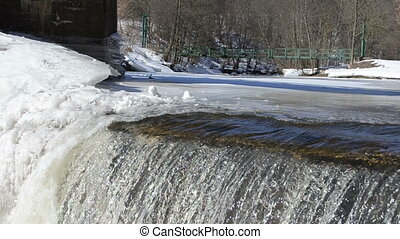 water edge flow shine sun - amazing waterfall ice edge and...