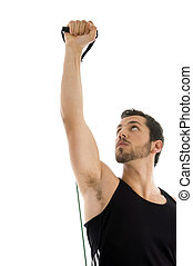 exercising man looking upward with white background