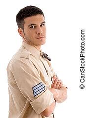 retrato, macho, militar