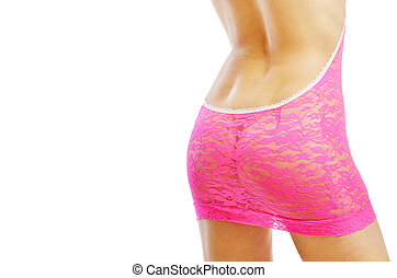 Female body through rosy lace - Lower rear area of the...