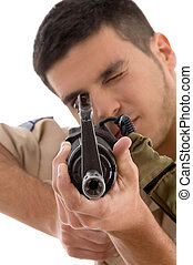 young soldier aiming on an isolated background