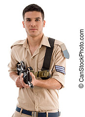 soldier with gun in hands on an isolated white background