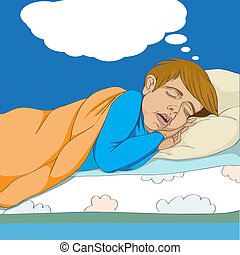 kid dreaming - Hand drawn illustration of a kid in his bed...