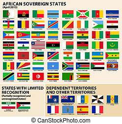Flags of African States - Vector set of Flags of sovereign...