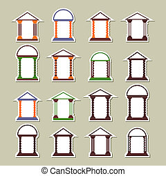 Set of different arches. Stickers on a light background.
