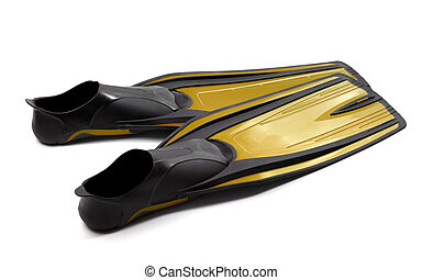 Yellow swim fins on white background