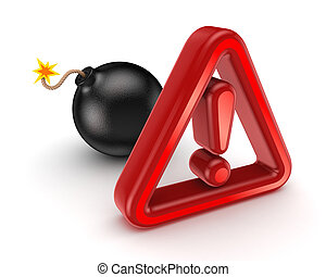 Warning sign and black bombIsolated on white background3d...