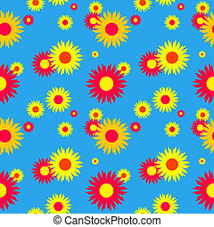 Seamless floral pattern on a blue background Vector...