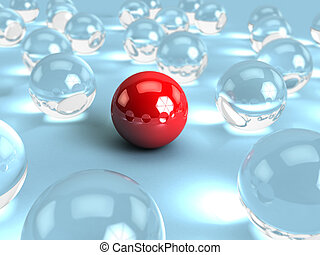 spheres - abstract 3d illustration of glass spheres and one...