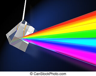 prism with light spectrum - abstract 3d illustraton of blue...