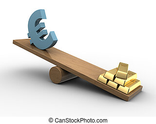 euro and gold seeasaw - 3d illustration of euro and golden...
