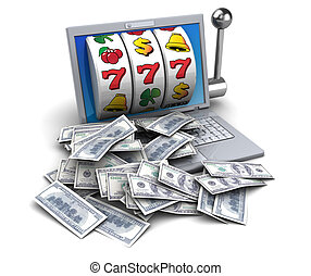 jackpot - 3d illustration of jackpot with laptop and money