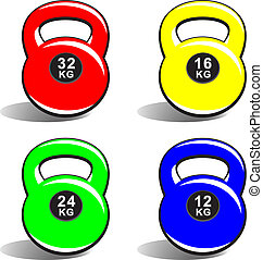 Colored kettlebells on white - Colored kettlebells of...