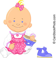 Vector cute baby girl learns to put on ones shoes - Cute...